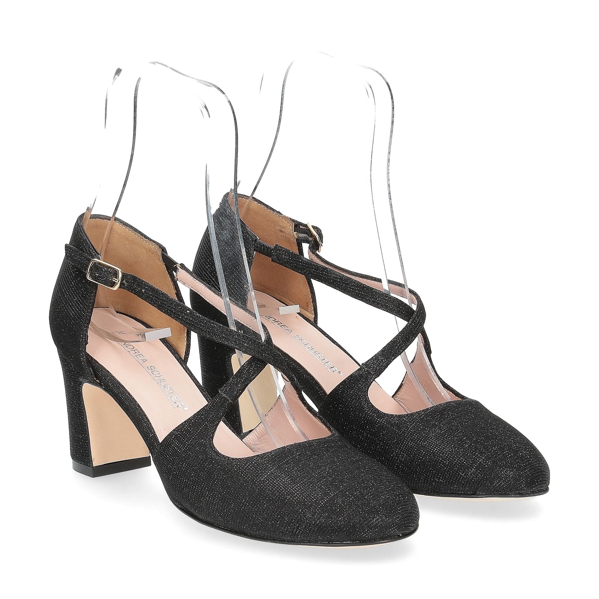 Andrea Schuster sandaliera tessuto lurex nero 7cm