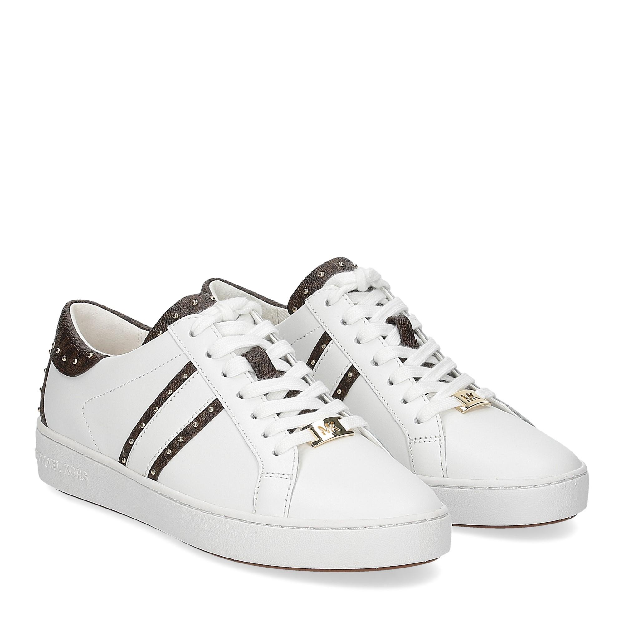 Michael KorsKeaton stripe optic white leather brown