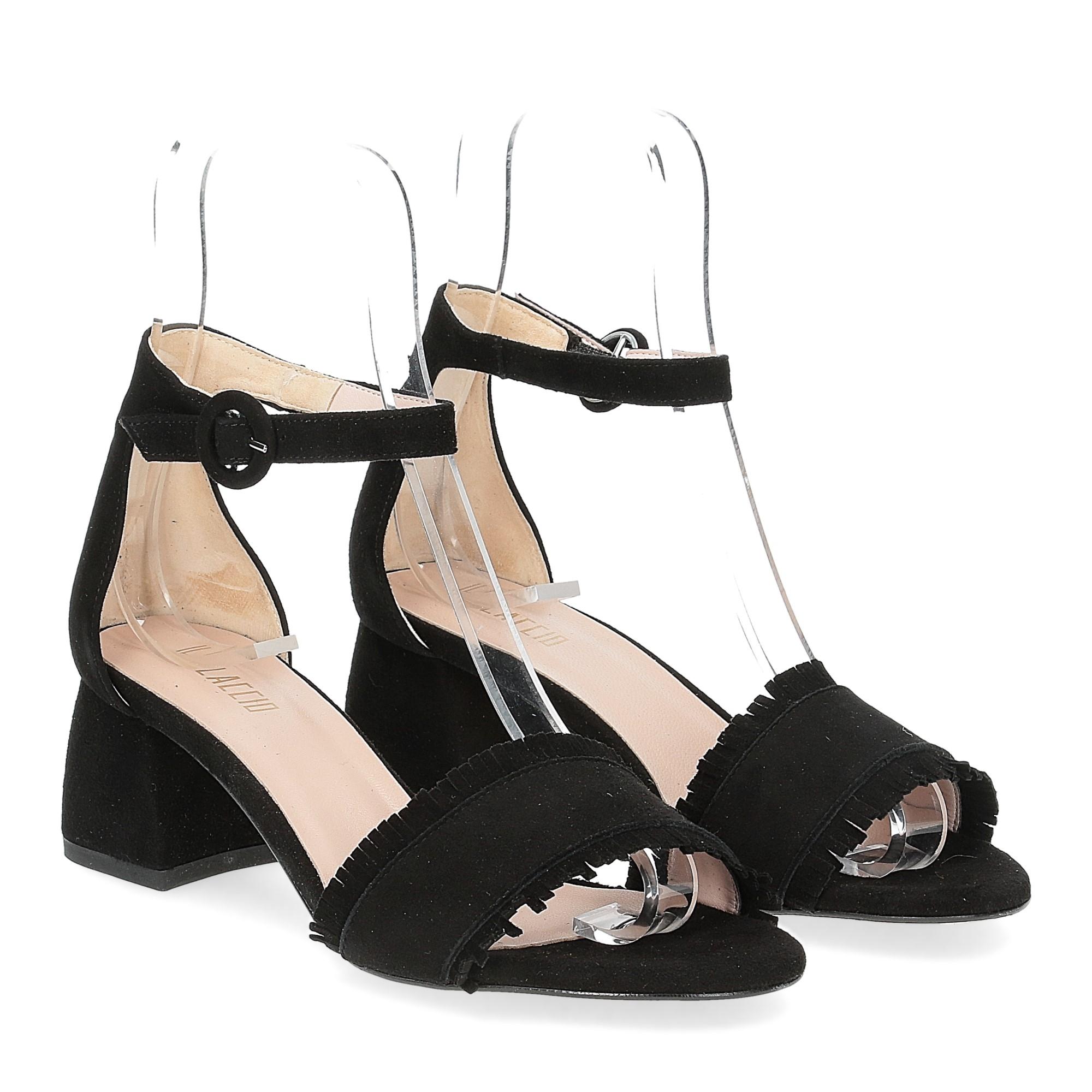 Il Laccio sandalo 519 camoscio nero