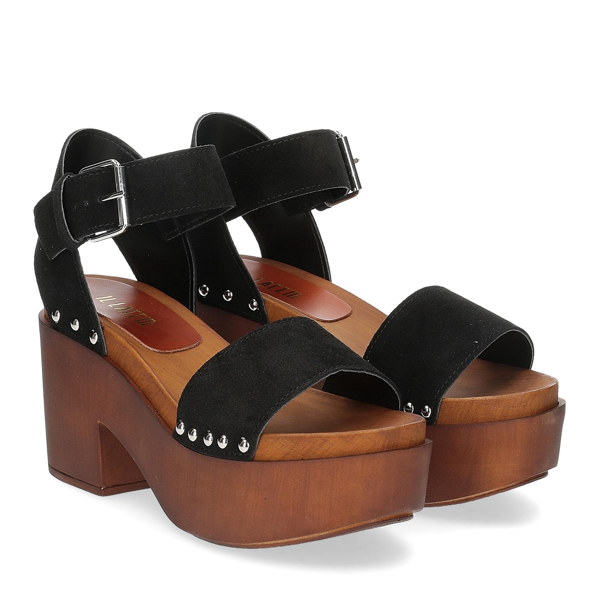 Il Laccio Sandalo zoccolo camoscio nero