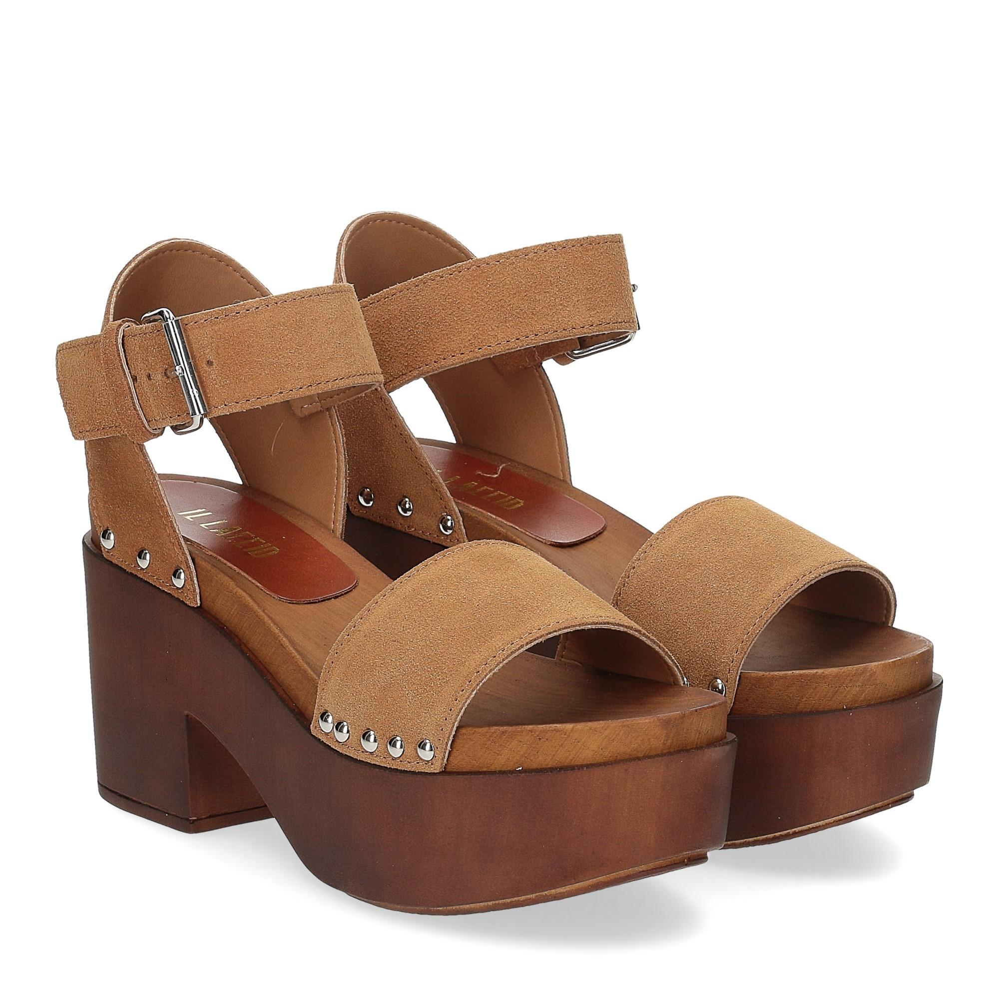 Il Laccio Sandalo zoccolo camoscio cuoio