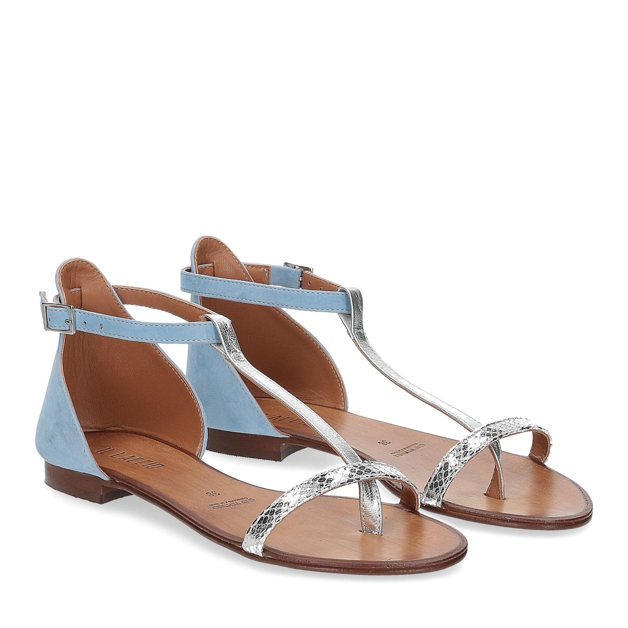 Il laccio sandalo infradito camoscio azzurro