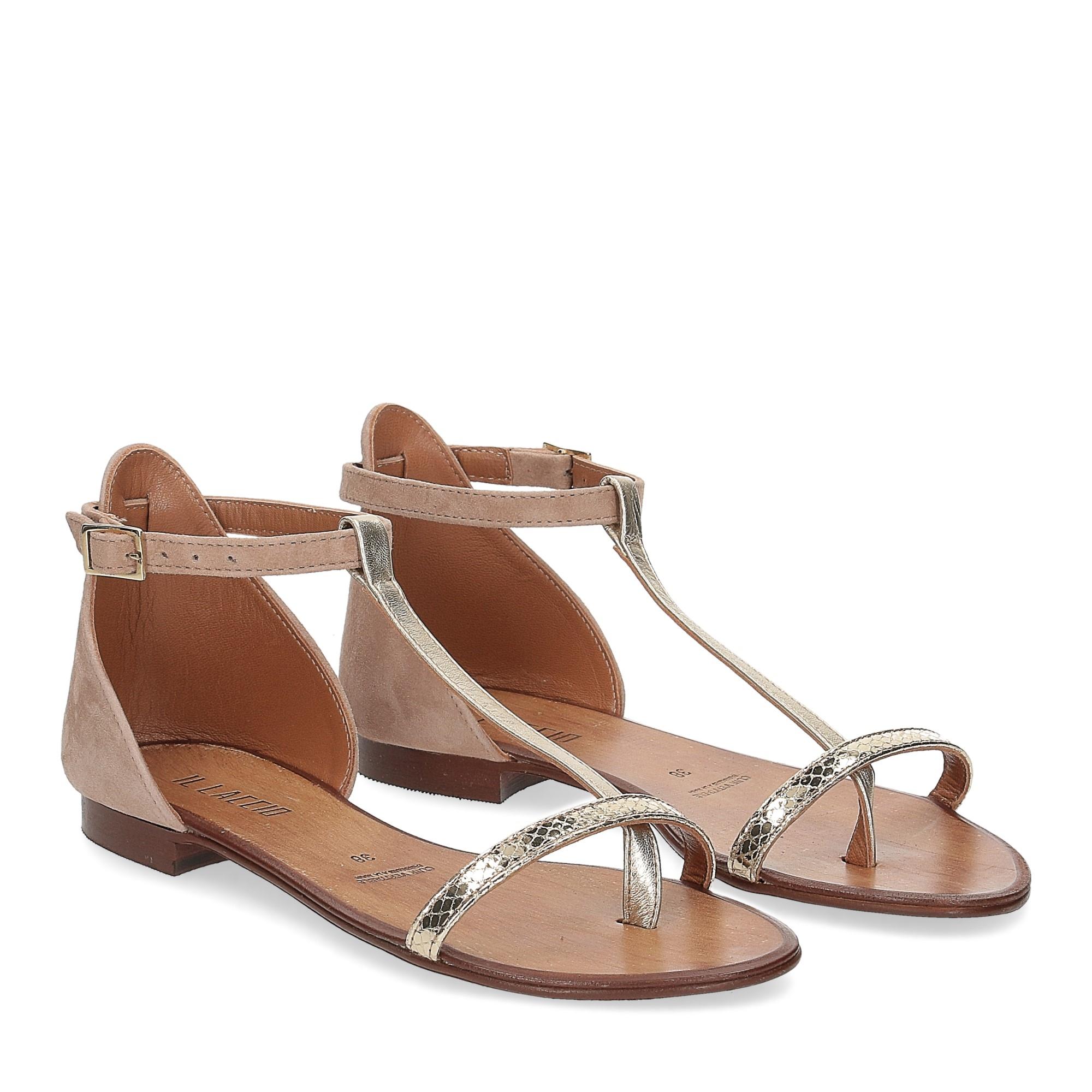 Il laccio sandalo infradito camoscio taupe
