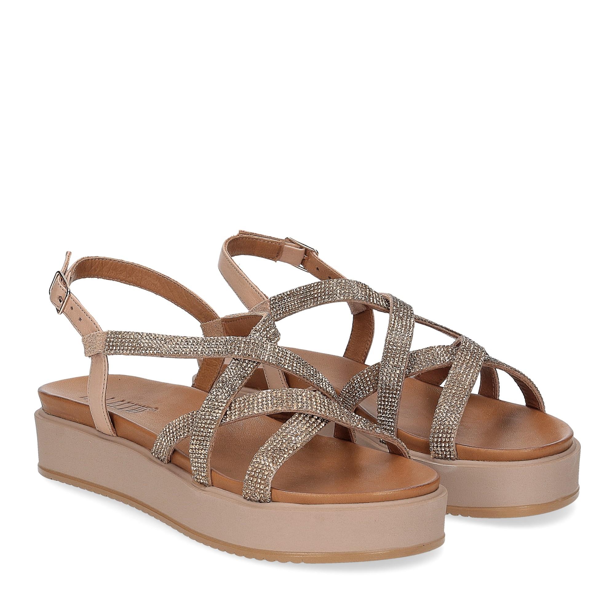 Il Laccio sandalo pelle taupe con pietre