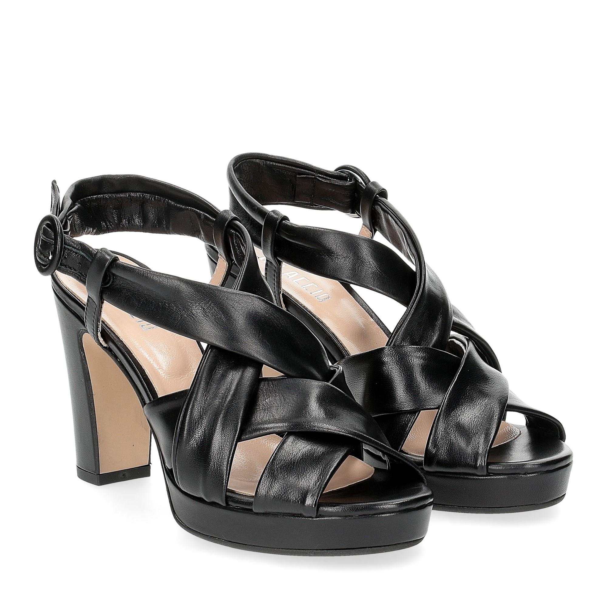 Il Laccio sandalo pelle tubolare nera