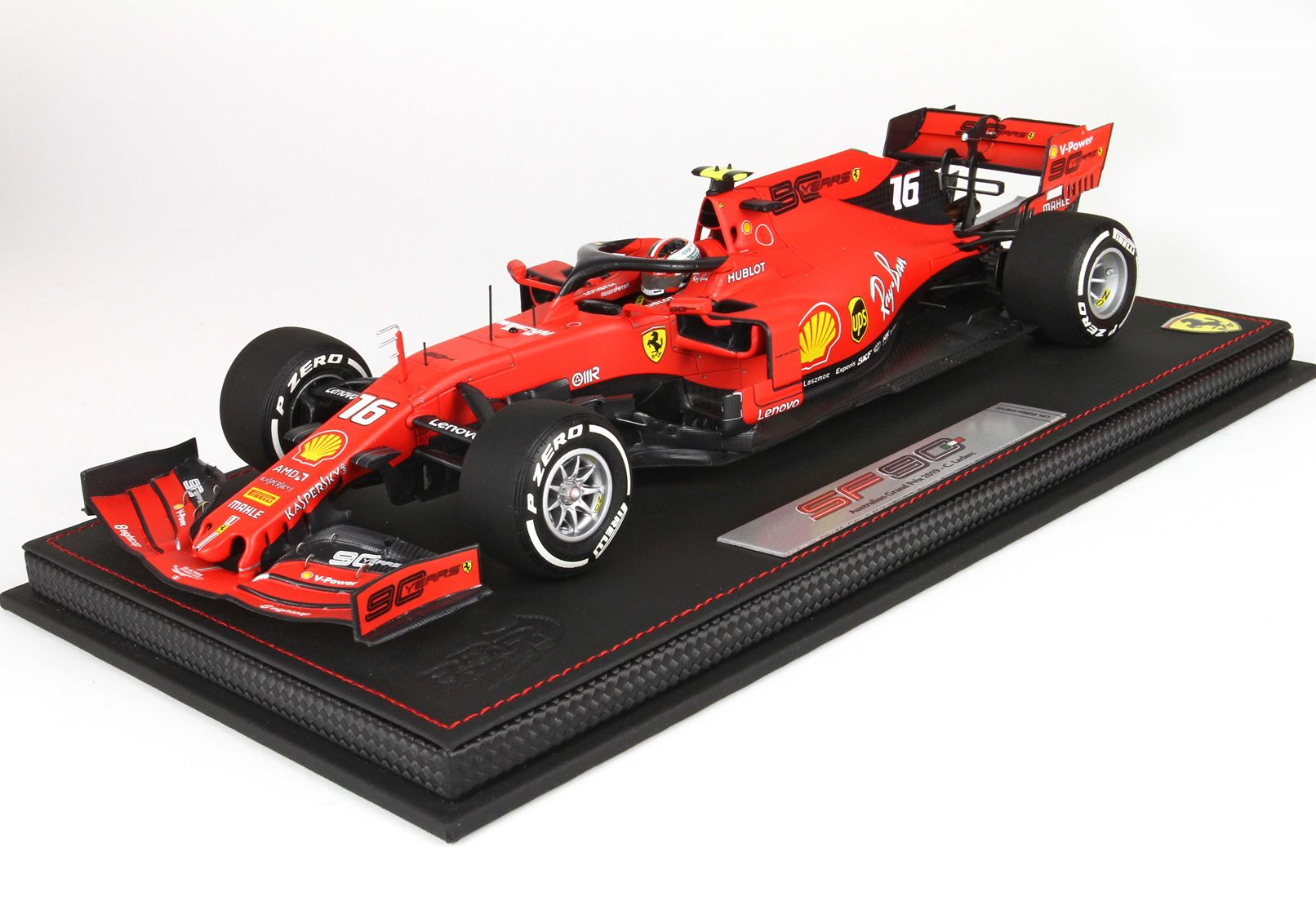 Ferrari SF90 F1 GP Australia Charles Leclerc N 16 Pirelli White 1/18