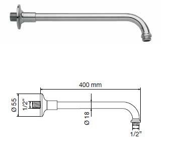 Braccio doccia tondo 40 cm