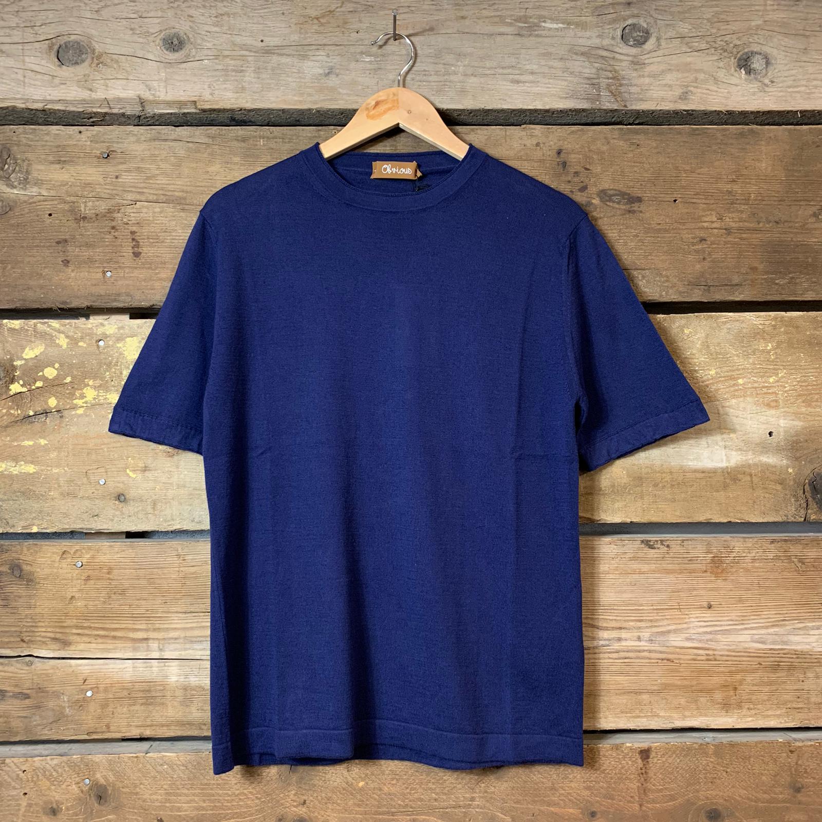 Maglia Obvious Basic a Maniche Corte in Maglia 100% Cotone Blu