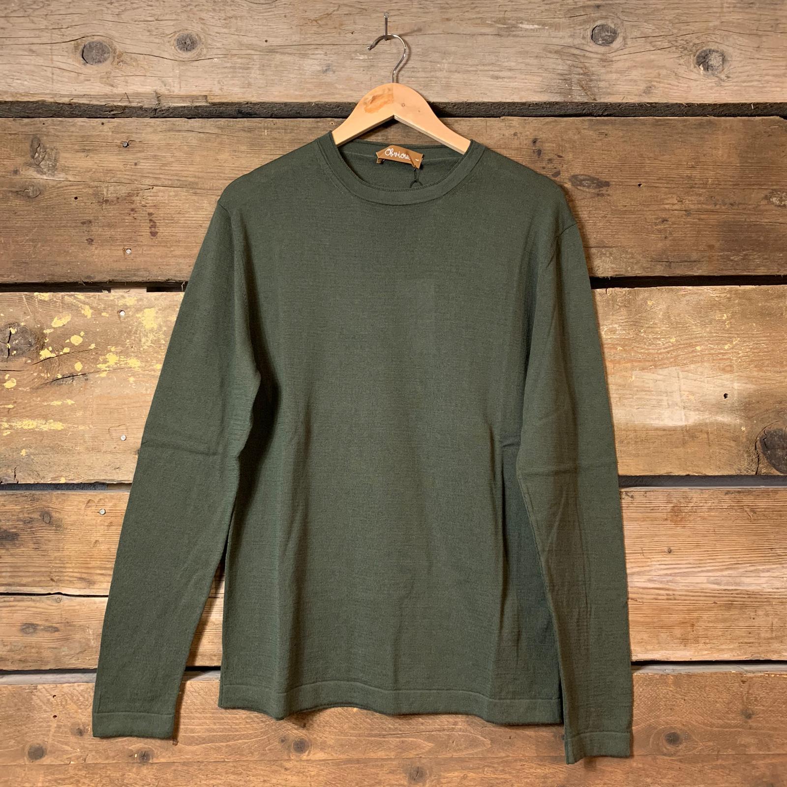 Maglia Obvious Basic a Maniche Lunghe 100% Cotone Verde Militare