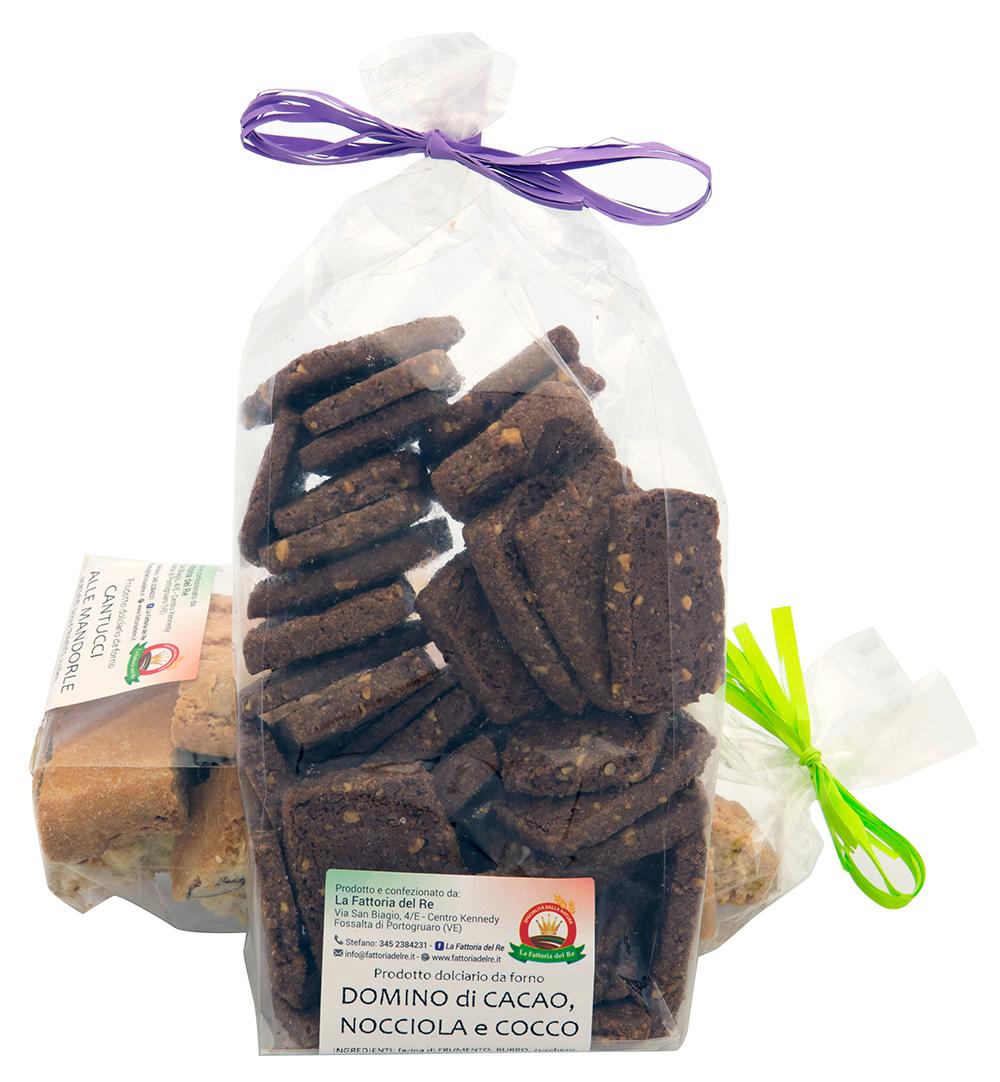 Domino di cacao, nocciola e cocco