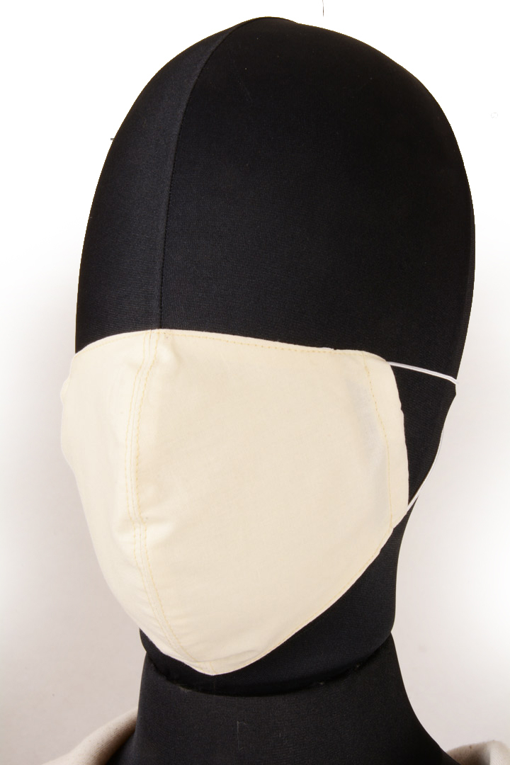 Mascherina in Tessuto di Cotone Bianco Lavabile