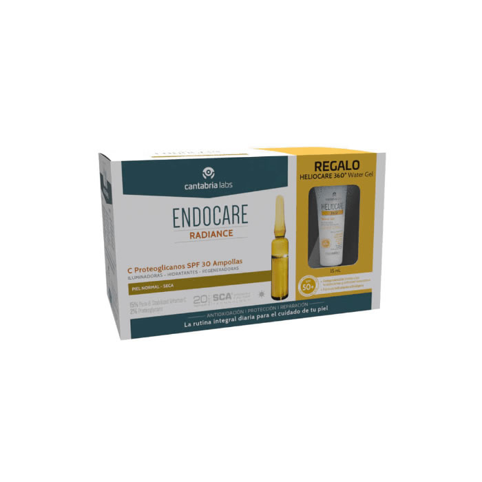 Fiale Endocare Radiance C Proteoglicanos SPF30 + Gel D'acqua 360 15 ml
