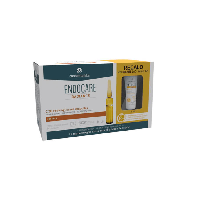 Endocare Radiance C20 Proteoglicanos PS 30 Fiale + Gel D'acqua 360 15ml
