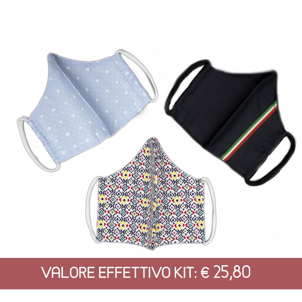 Kit mascherine in cotone per adulti
