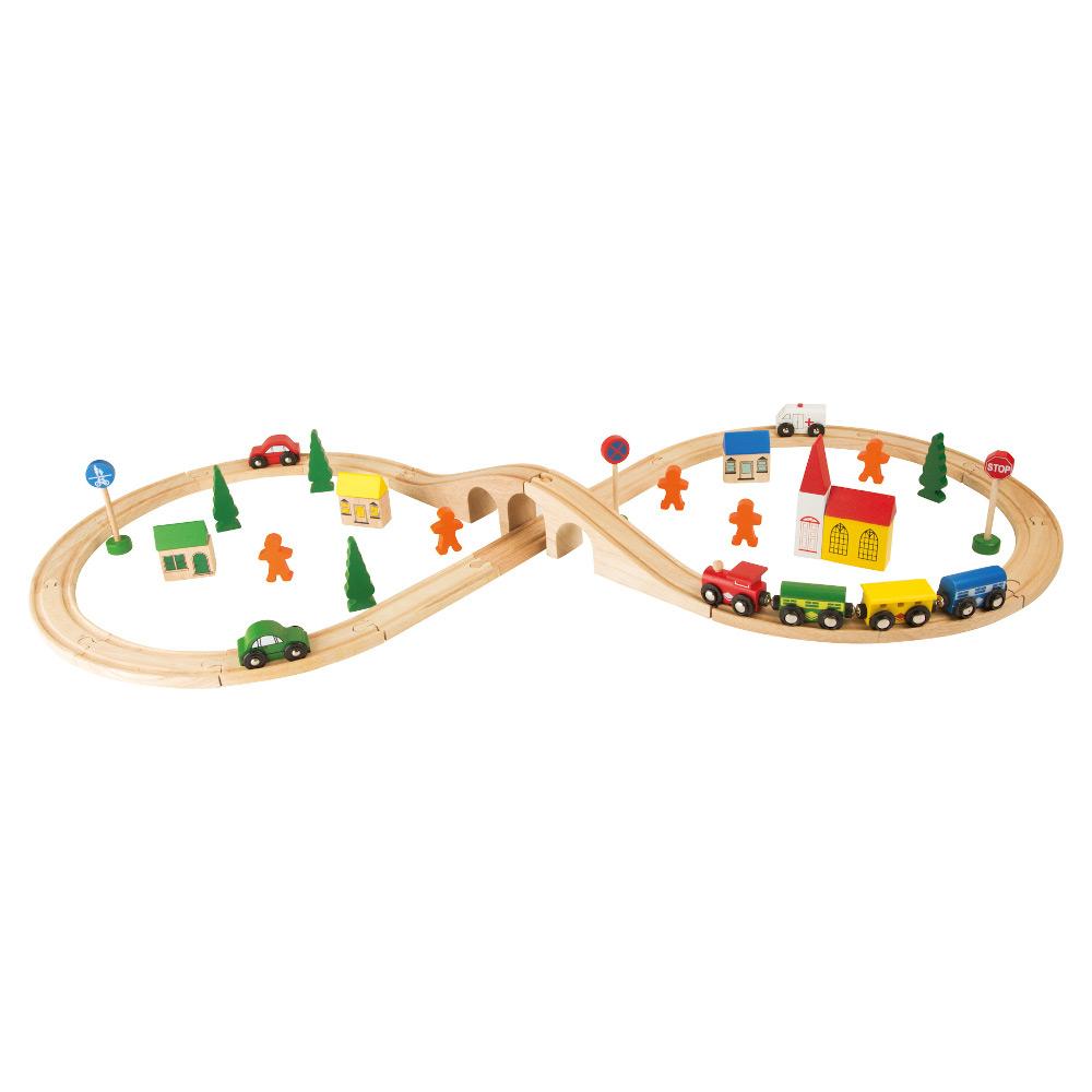 Trenino con pista a forma di 8 in legno