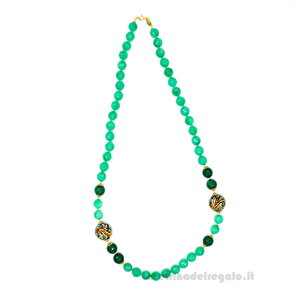 Collana con agata verde e sfere in ceramica di Caltagirone - Gioielli Siciliani