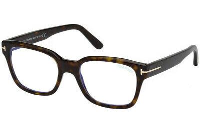 Tom Ford - Occhiale da Vista Unisex, Havana Squared FT 5535-B  BLUE BLOCK  052  C54