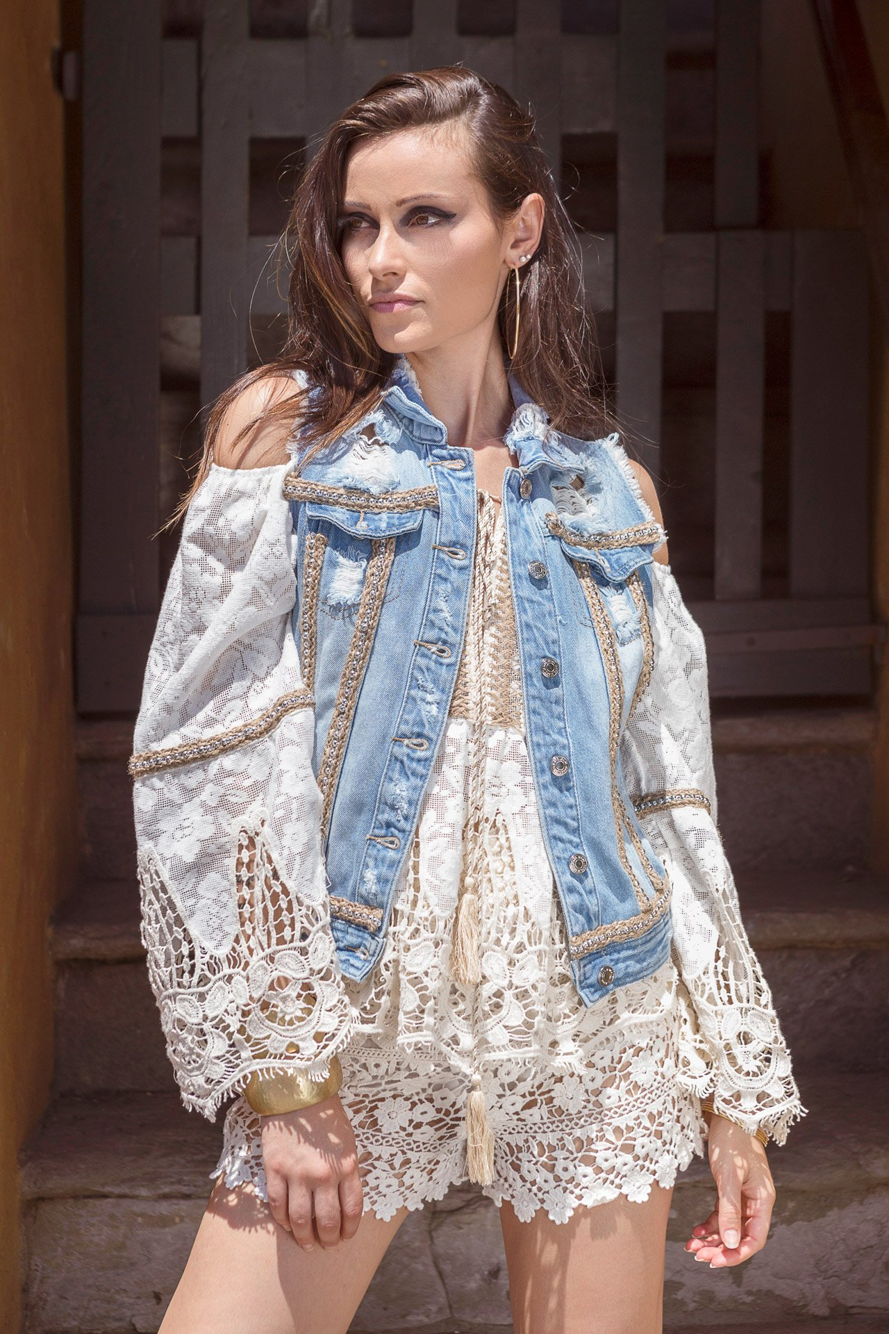 SHOPPING ON LINE PHO FIRENZE GILET IN DENIM E APPLICAZIONI BORCHIE NEW COLLECTION WOMEN'S SPRING SUMMER 2020