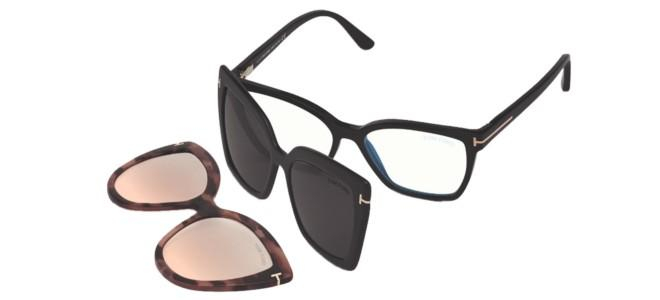 Tom Ford - Occhiale da Vista Unisex, Black + Black Clip-On + Havana Clip-On FT 5641-B  BLUE BLOCK  001  C53