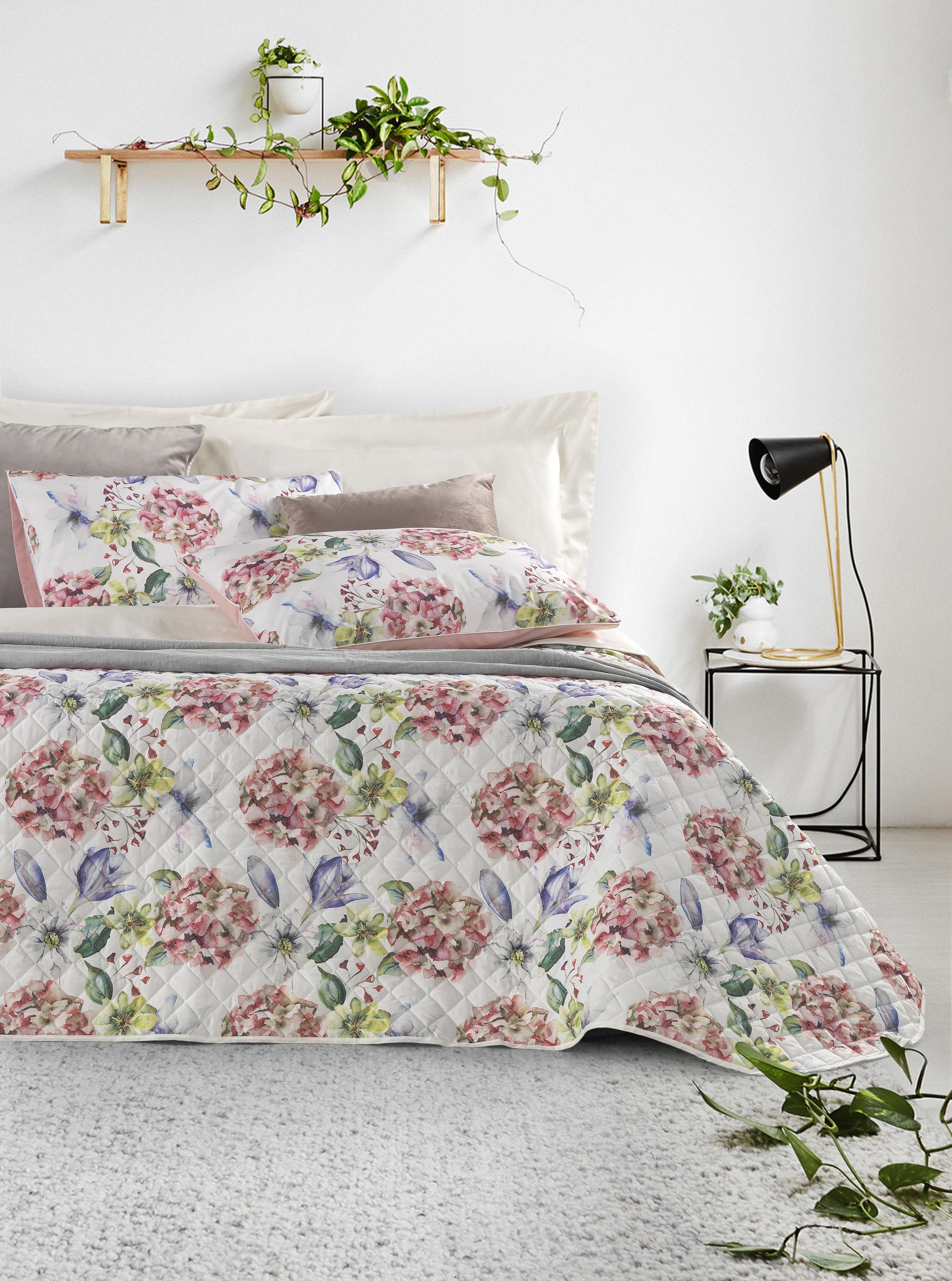 Copriletto Estivo Matrimoniale 270x270 cm in 100% cotone con stampa digitale Elegante trapuntino realizzato 100% Made in Italy | Ortensia