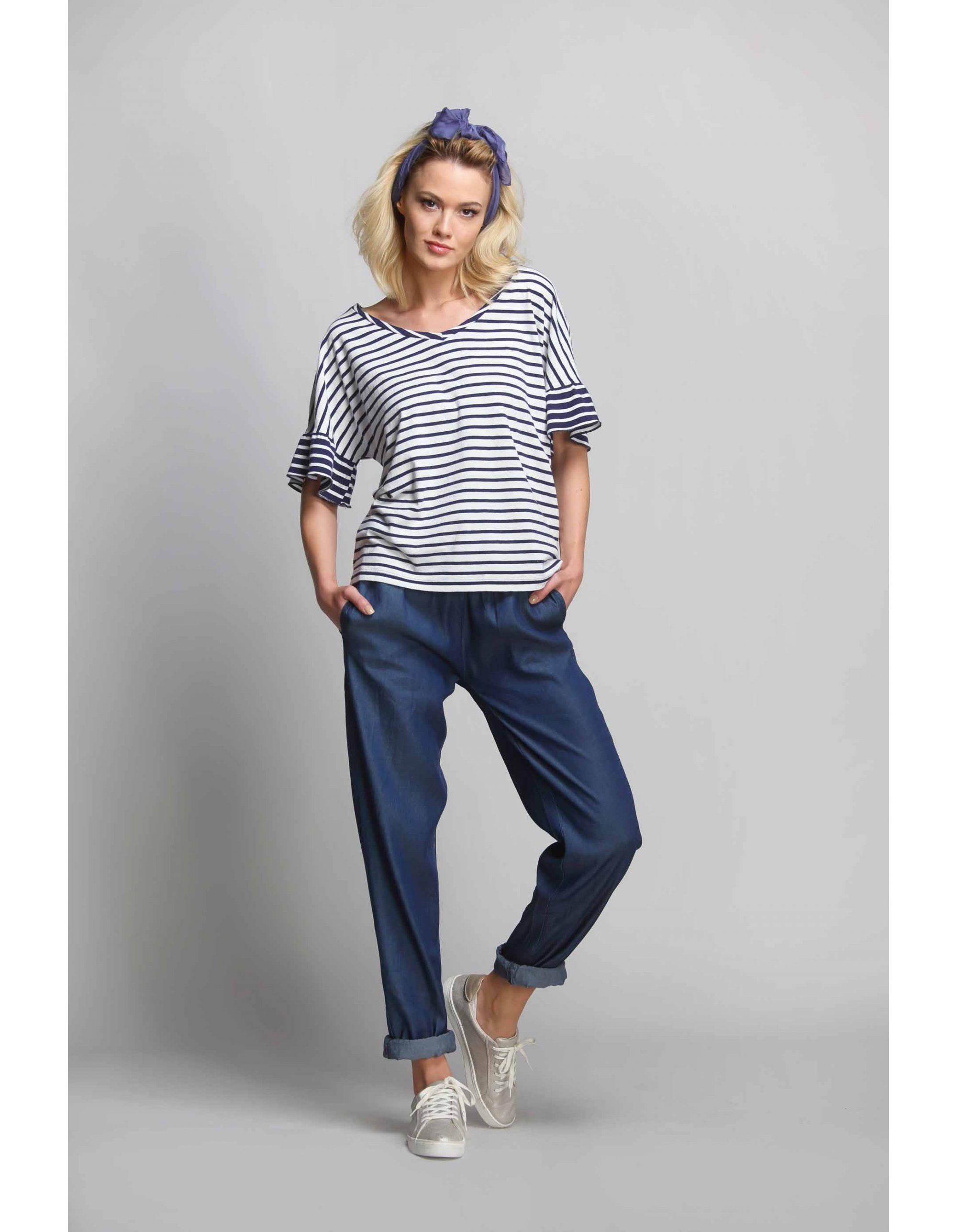 Jeans light con coulisse