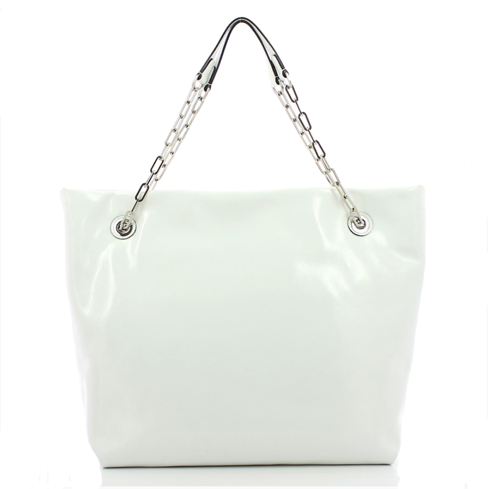Shopper pelle lucida bianca - GIANNI CHIARINI