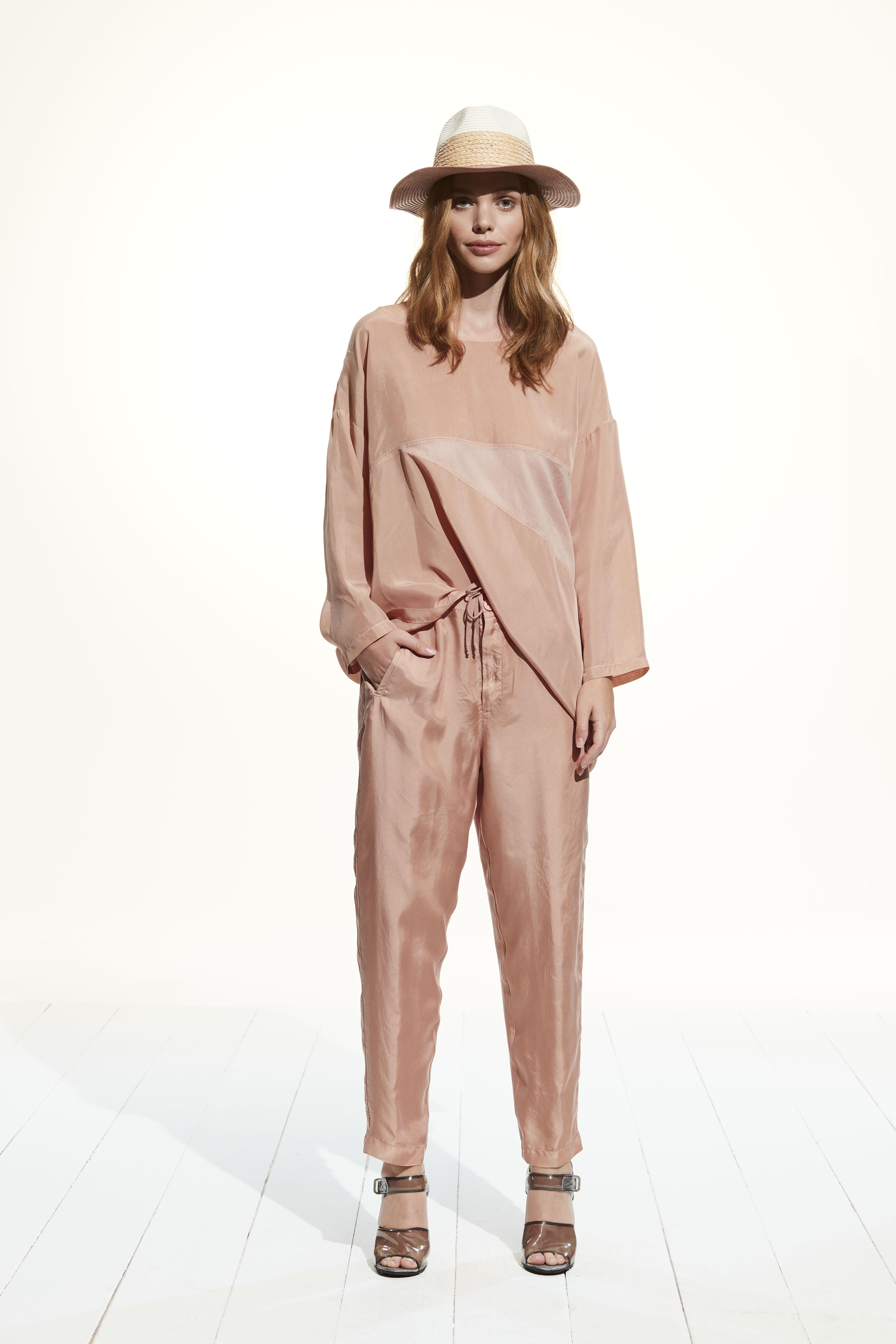 Blusa manica lunga cotone e cupro European Culture.