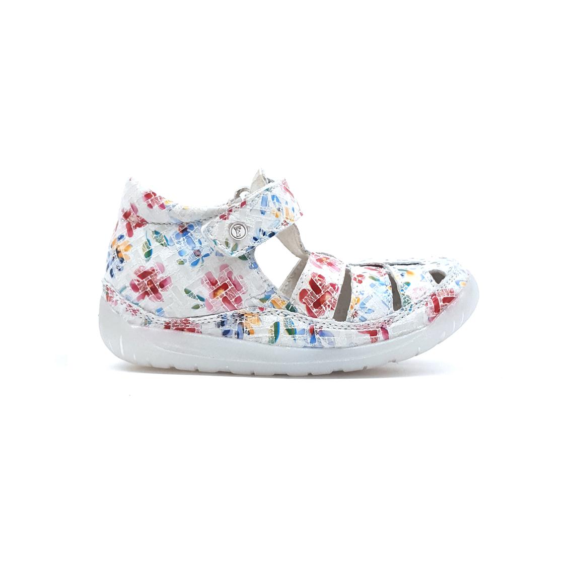 Sandalo bianco con fiorellini Falcotto