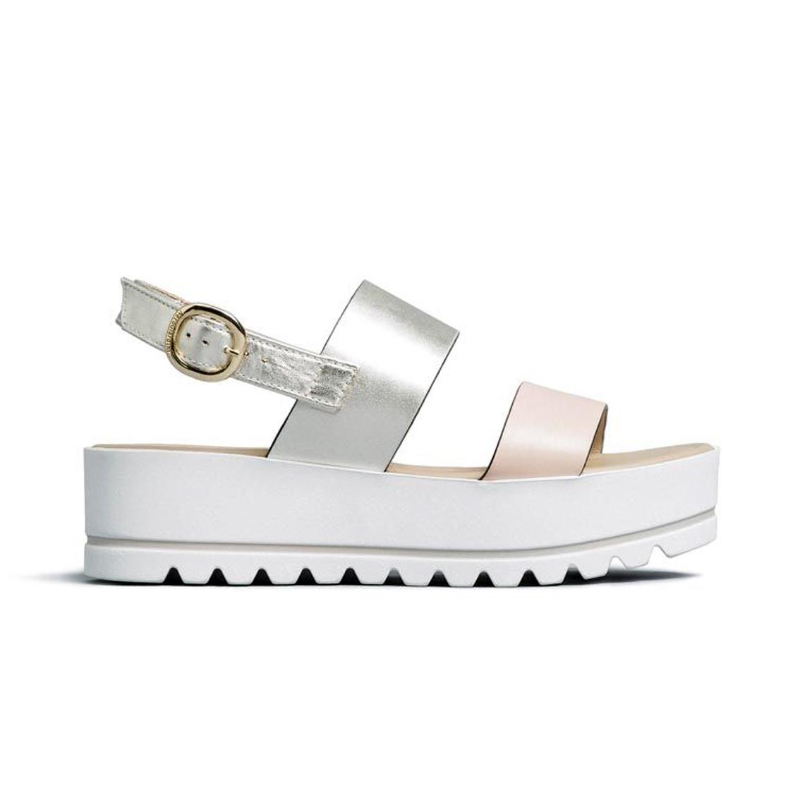 Sandalo platino/cipria con fasce Nero Giardini
