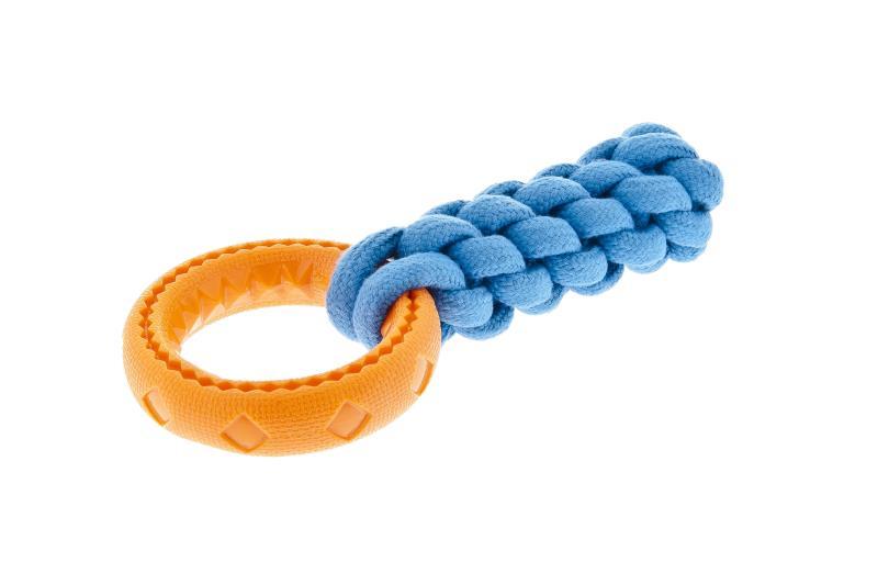 Gioco per cani anello  Bounce  con corda in Tpr  Ferribiella