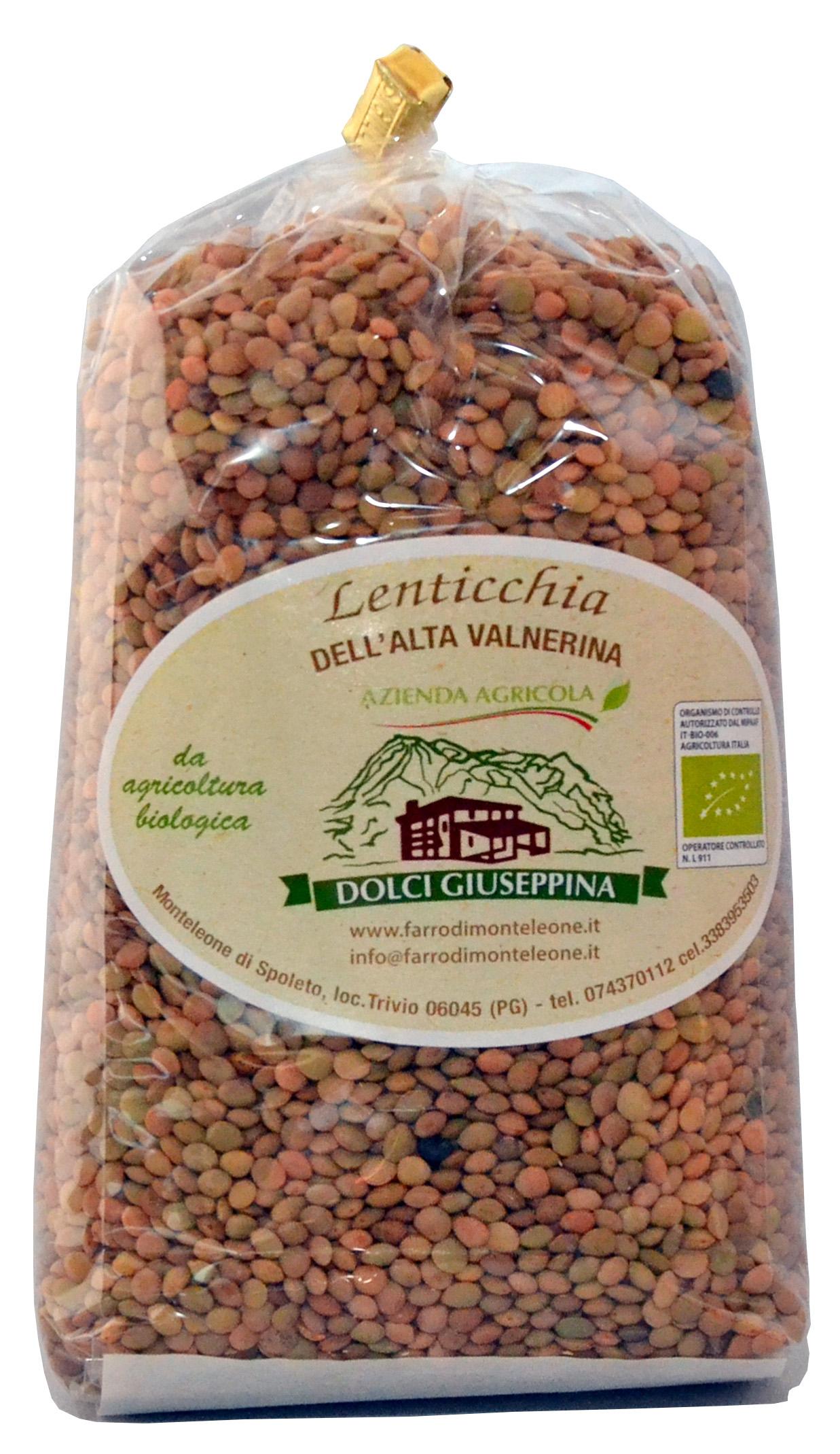 Lenticchie BIOLOGICHE dell'Umbria confezione gr 500