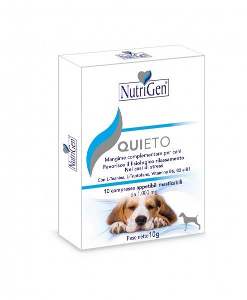 QUIETO per cani nei casi di paura, ansia e stress  10 compresse Nutrigen