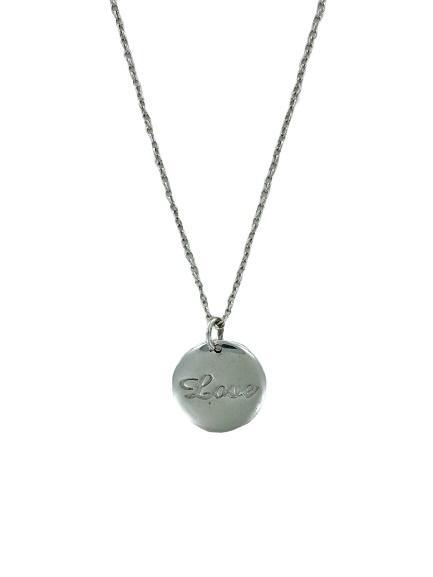 Girocollo stile prezioso in argento  con ciondolo rotondo con inciso love
