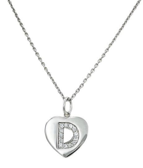 Girocollo stile prezioso in argento con ciondolo a forma di cuore con inciso una lettera ricoperta di zirconi