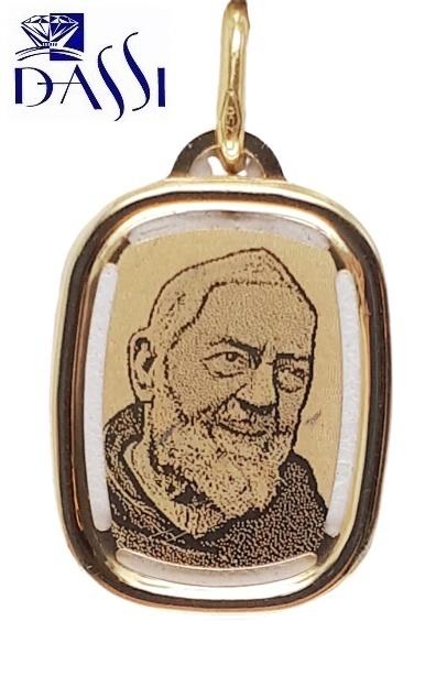 Medaglia Padre Pio in oro 18kt peso 1,20 gr dimensioni 1,60 x 2,00 cm