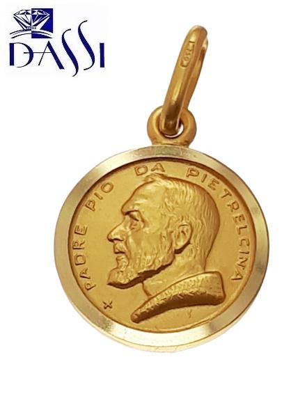 Medaglia Padre Pio in oro 18kt peso 2,20 gr diametro 1.30 cm