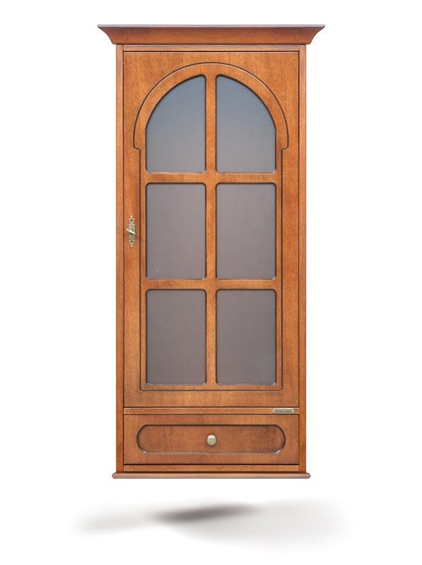 Vitrina de pared clásica 1 puerta y cajón color cerezo