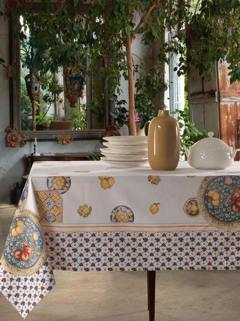 Tovaglia in Cotone 100% NATURALE, Design Elegante con Decorazione della Tavola da Pranzo | AMALFI