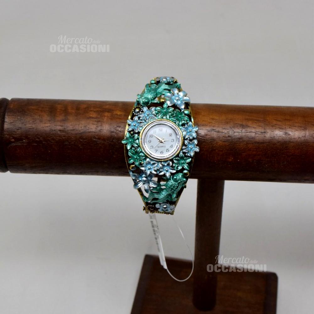 Orologio Con Cinturino Rigido Pesci E Fiori Azzurro/verde (a Batteria)