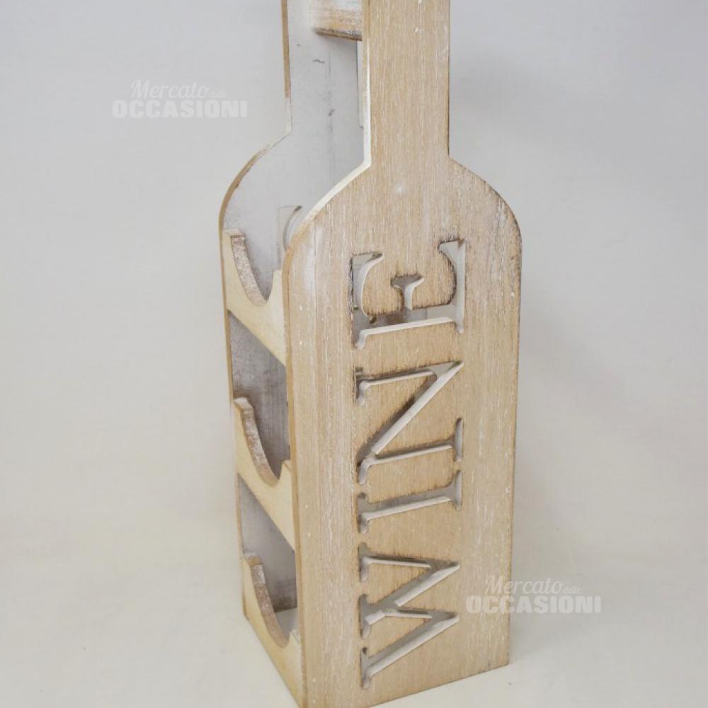 Porta Bottiglie In Legno Wine 18 Cm