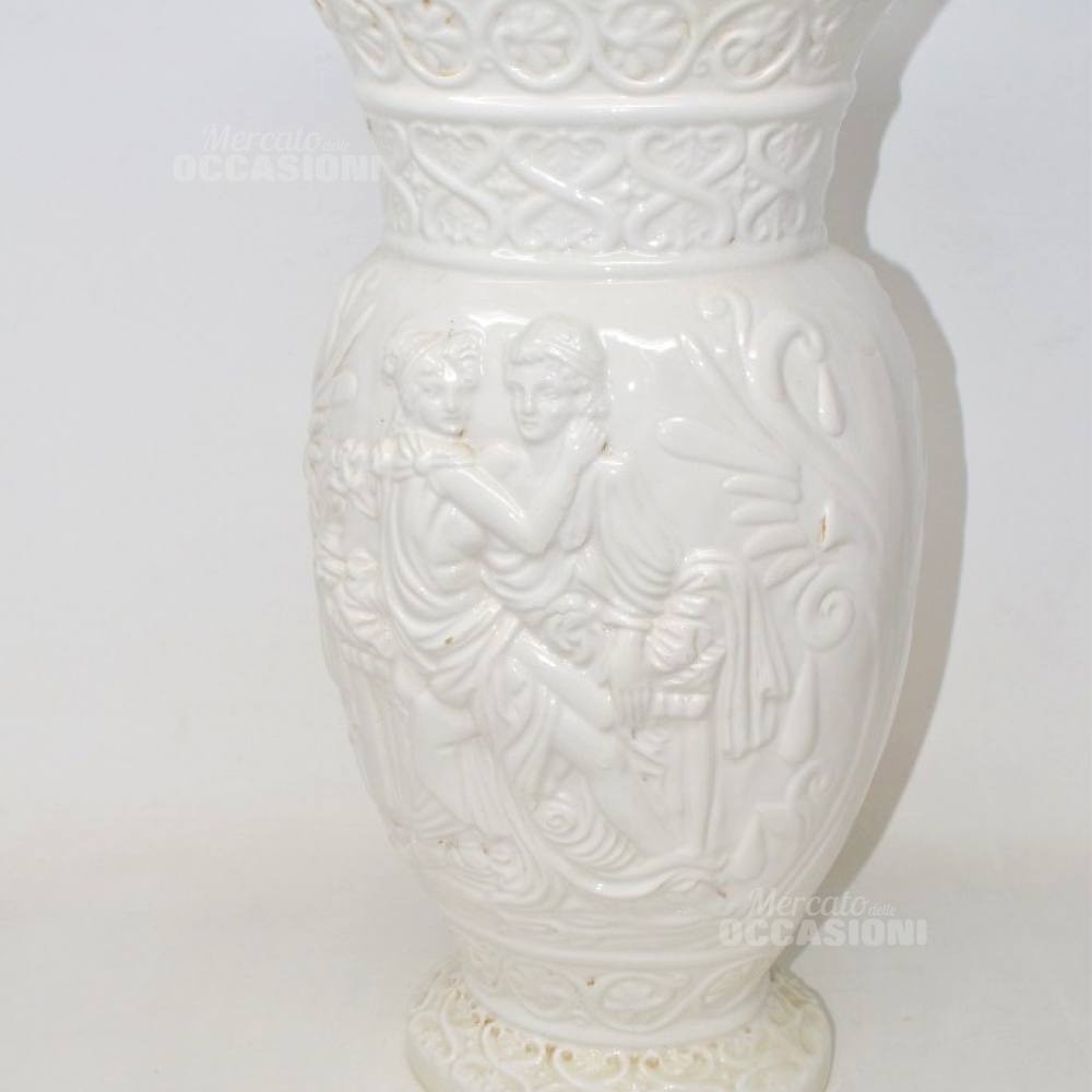 Vaso In Ceramica Bianco Lui E Lei Dei Romani