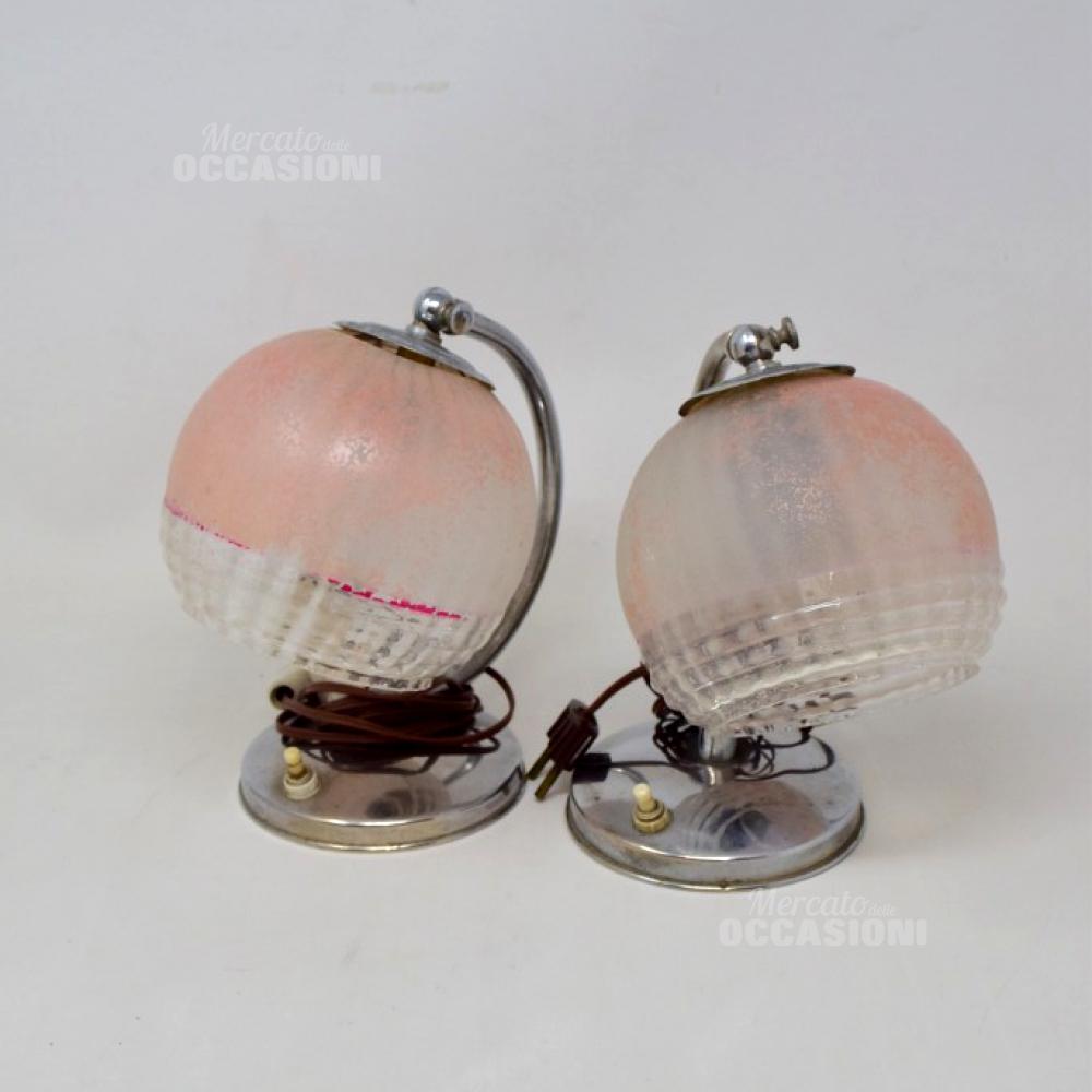 Coppia Abajour Rosa Vintage