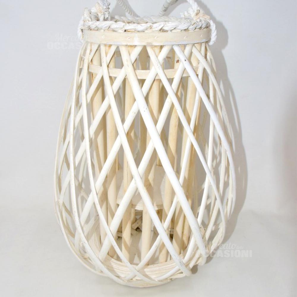 Lanterna Vimini Bianco Dipinto 42cm