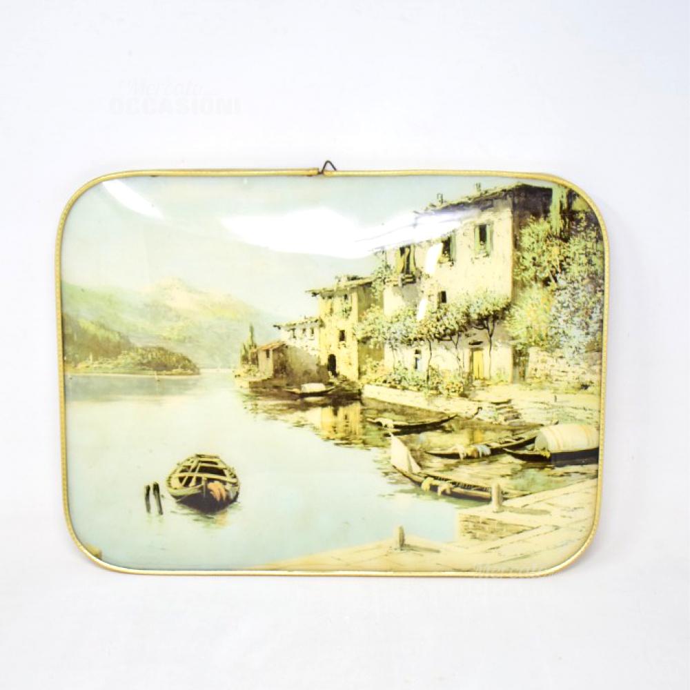 Quadro Vintage 38x29 Lago Con Barca E Case