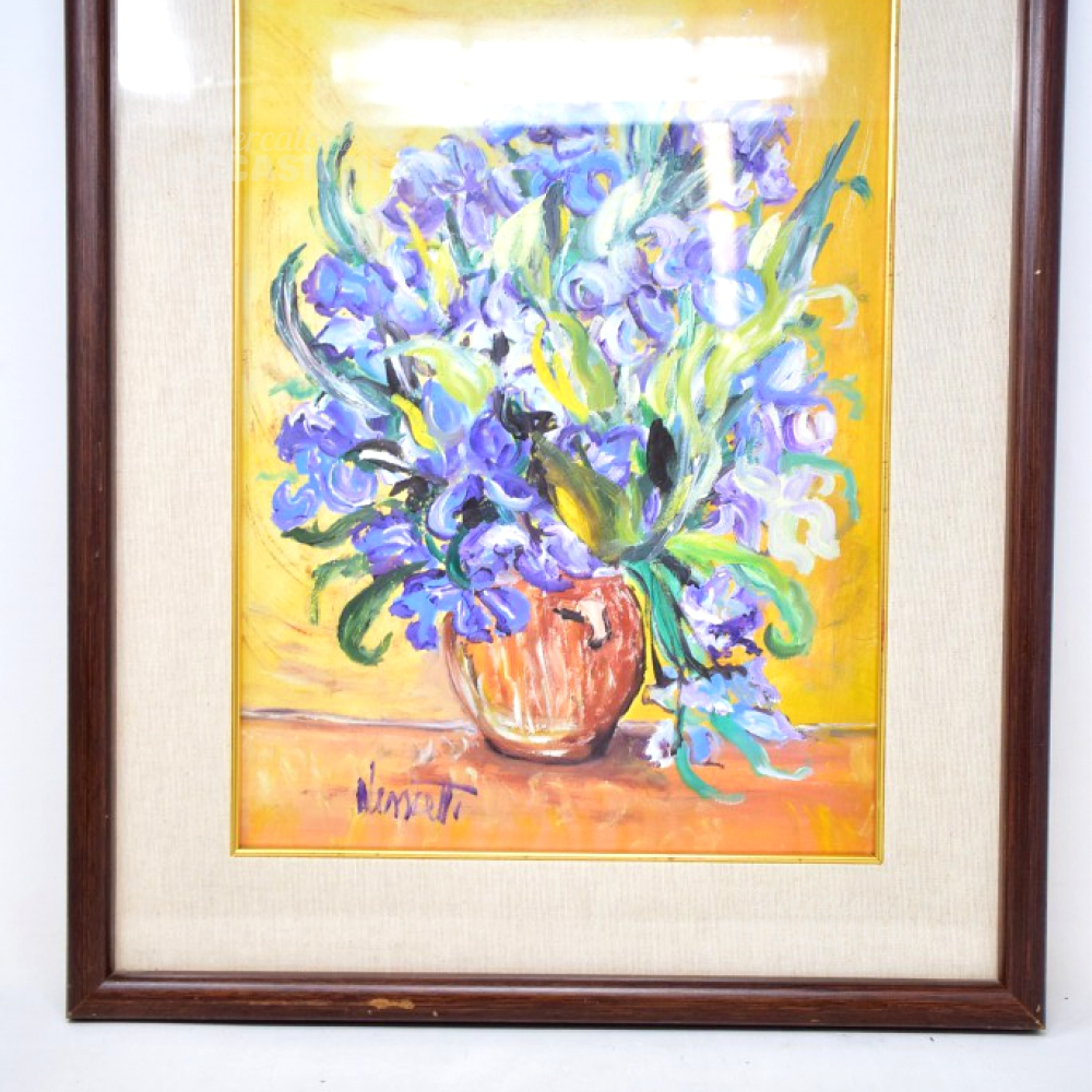 Quadro Vaso Fiori Iris Viola 53x43 Cornice Legno