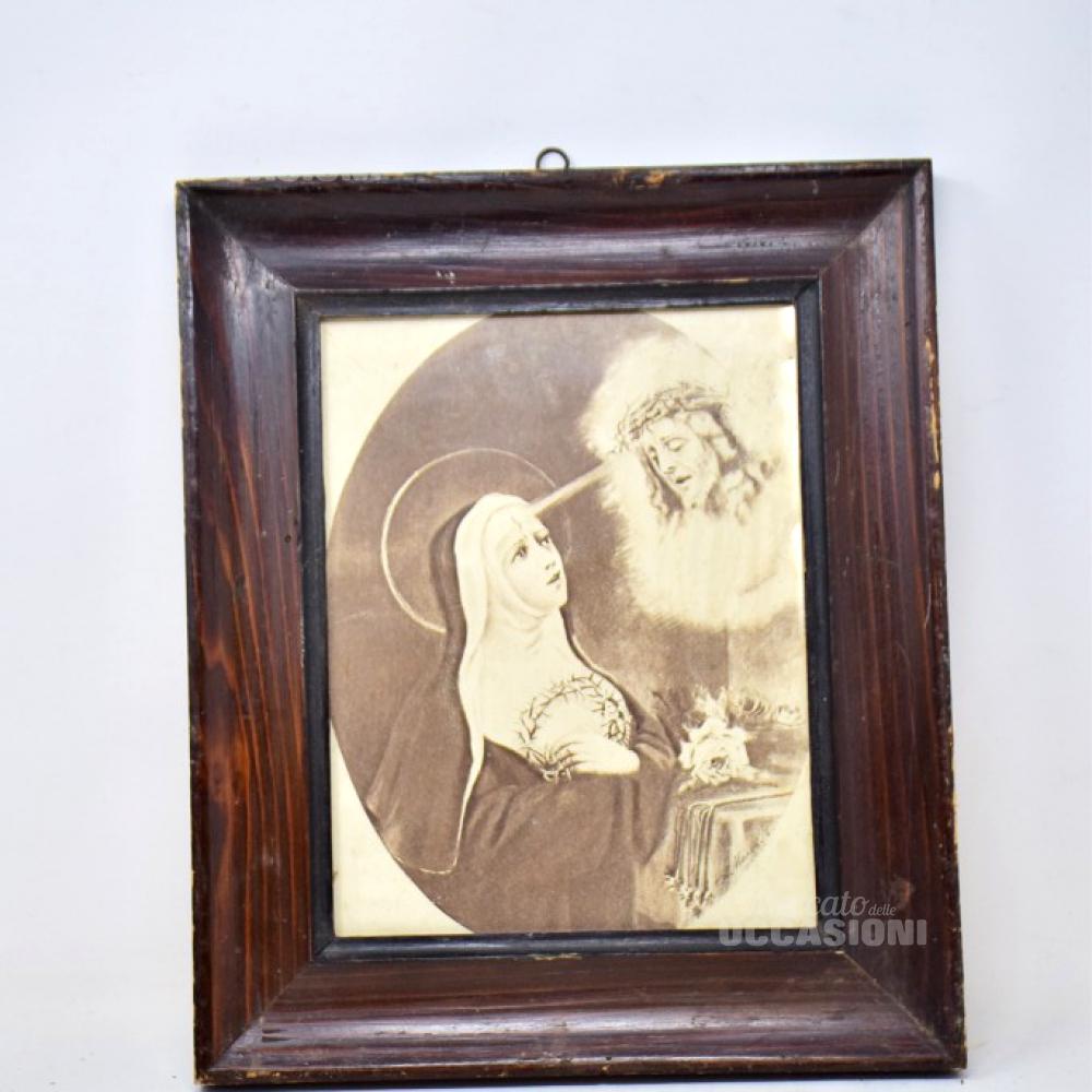 Quadro Stampa Santa E Cristo 30x35 Cornice Legno Antico