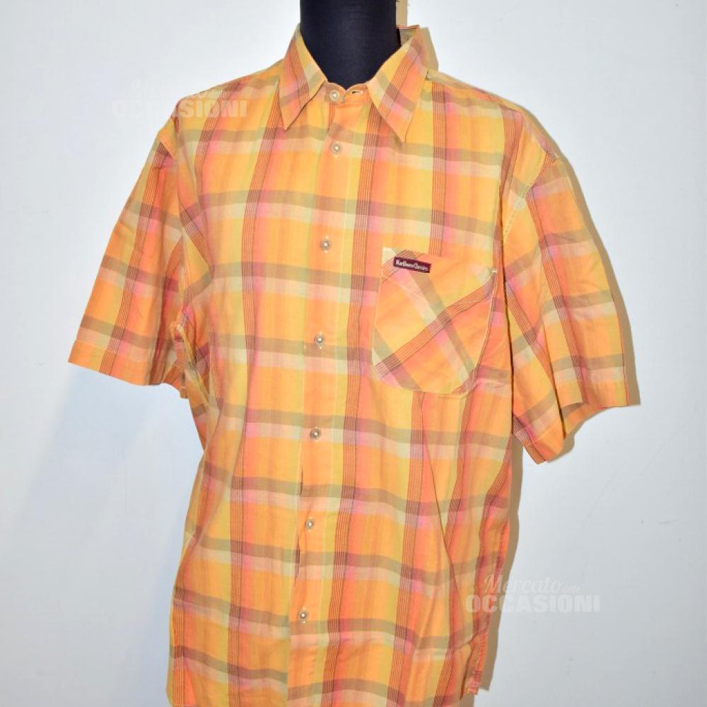 Camicia Uomo Arancione Manica Corta Tg Xl Marlboro Classic