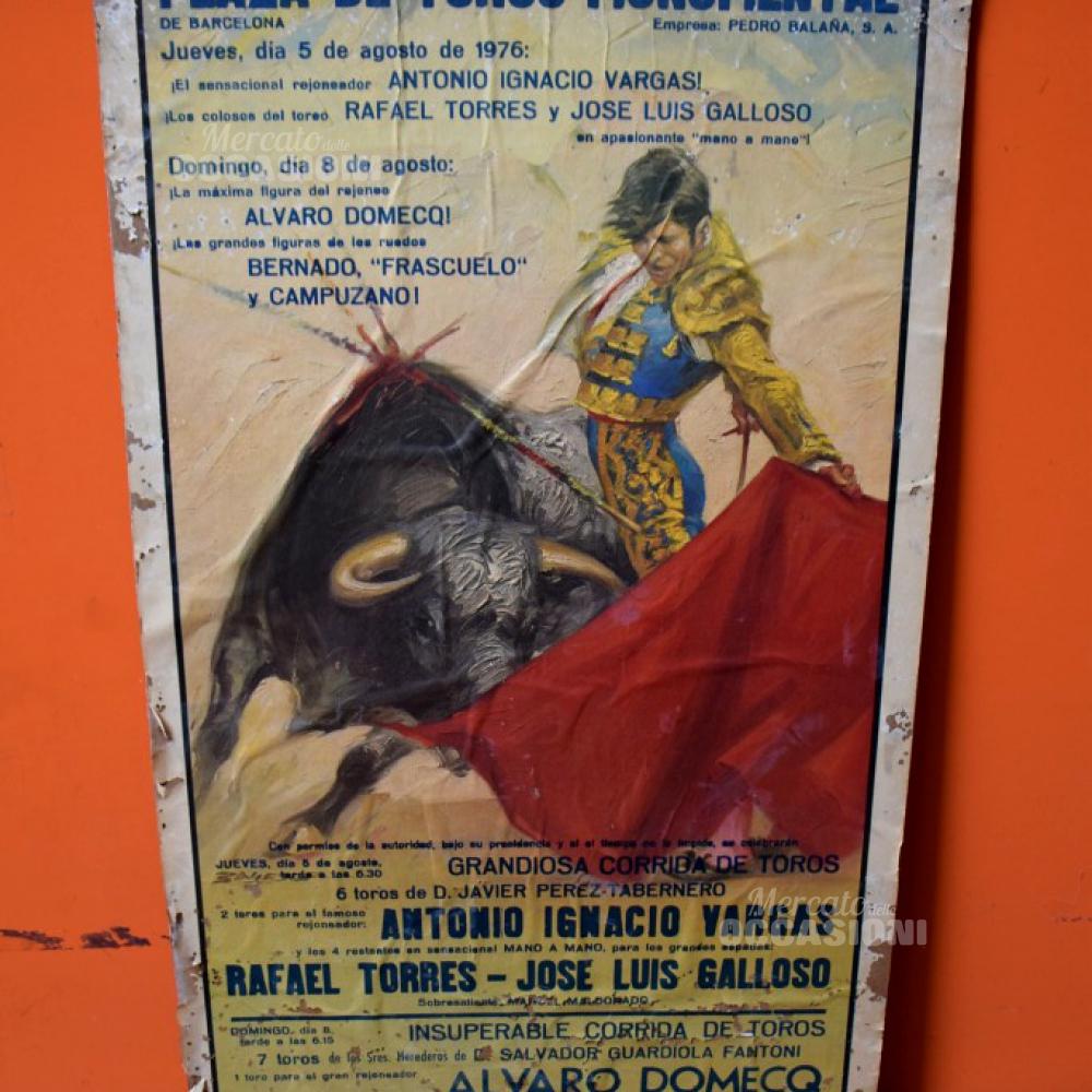 Manifesto Originale Spagnolo Di Una Corrida 5 Agosto 1976