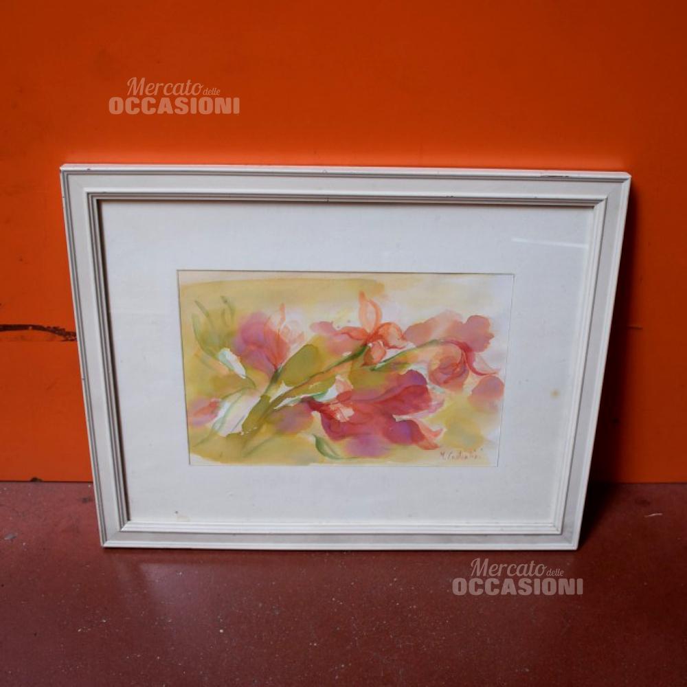 Quadro 50*40 Cm Acquerello Fiori Rosa M. Costantini
