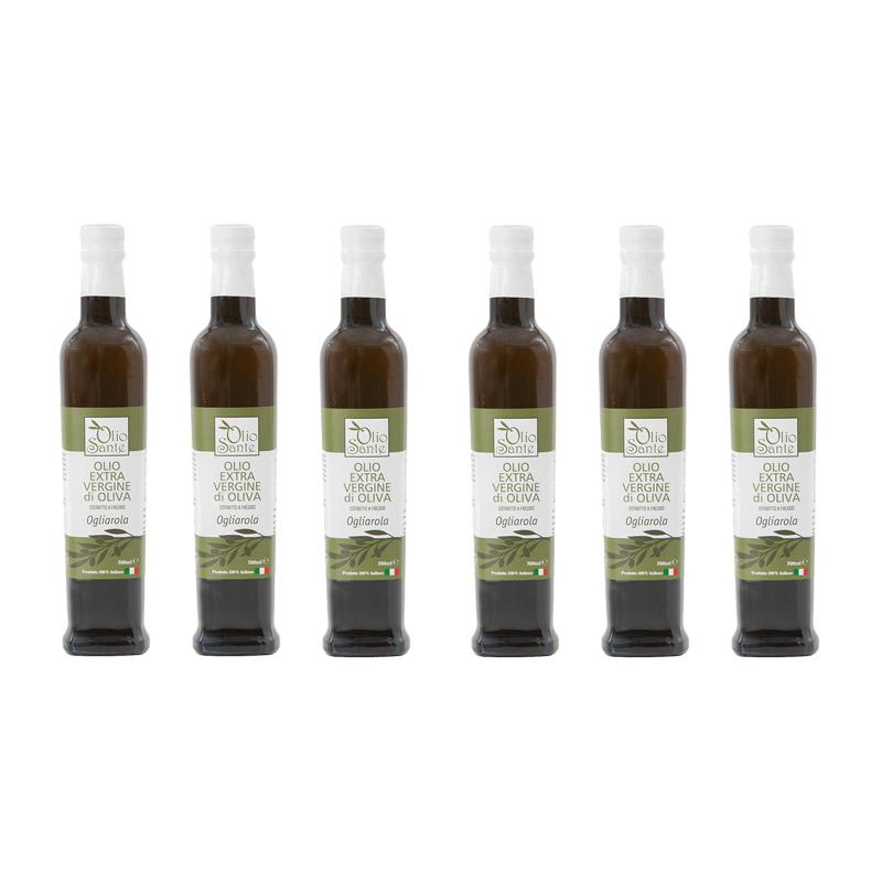 Olio Evo Ogliarola 500ml 2020/21 - Olio extravergine di oliva Pugliese cultivar Ogliarola Sante 6 Bottiglie da 500 ml - Terre di Ostuni
